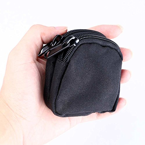 Blackr Mini Pocket Impermeabile Portatile 2 Strati Portamonete con Cerniera Sacchetto Nero