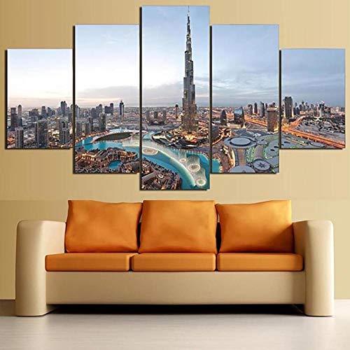 quadri moderni soggiorno dubai IIIUHU Stampe E Quadri su Tela 5 Pezzi Dubai Building City Landscape Moderni Quadri 150X80Cm Modulare per Camera da Letto Decorativa Moderna Soggiorno Parete Casa Decor Arte