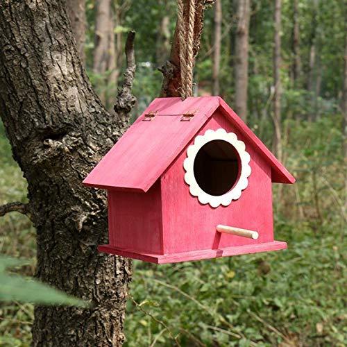 KINGEE Caja Nido De Madera Natural para Petirrojos, Ayuda para El Nido De Pájaros Resistente A La Intemperie Casas para Pájaros para Colgar En El Jardín Y Balcón para Pájaros De Jardín,Rojo