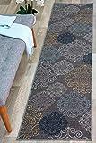 Modern Floral Swirl Design Non-Slip (Non-Skid) Area Rug Runner 2' X 7' (22' X 84') Gray