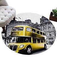 カーペット 円形 ラグマット バス レトロ 車 ポスト 黄色い 抽象 建物 じゅうたん シャギーラグ 絨毯 ふわふわ マイクロファイバー 防音 滑り止め付 床暖房 ホットカーペット対応 おしゃれ 直径 91cm