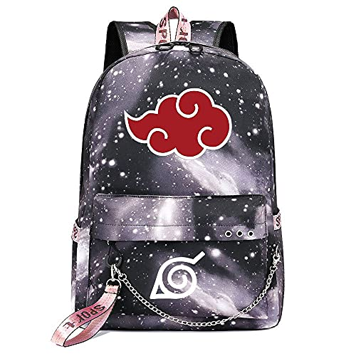 ZZGOO-LL Naruto/Sharingan/Kakashi with Chain USB Mochila de Anime Backpack de Escuela Secundaria para Estudiantes para Mujeres/Hombres Gray-D