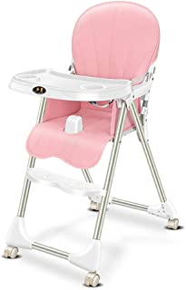 Lumeng Baby High Chair Multi Function Four Seasons Universal Portable Folding Adjustment Dinette Baby High Chai Baby Eating Chair Kids Desk and Chair Set (Color : Pink, Size : 426393cm)