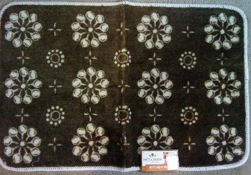 Paula Deen Kitchen Printed Acrylic Rug Mat Skillet Check Color Brown