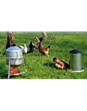Bebedero para gallinas, Pollos de sifón de Chapa de 30 litros Aproximadamente y comedero de tolva de Chapa con Tapa de 18 kg Aprox.