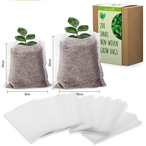 Bolsas biodegradables de tela no tejida para viveros, bolsas natural para cultivo compostables y bolsas de maceta para jardinería doméstica, viveros, huertos o invernaderos (200 Paquete- Pequeño)