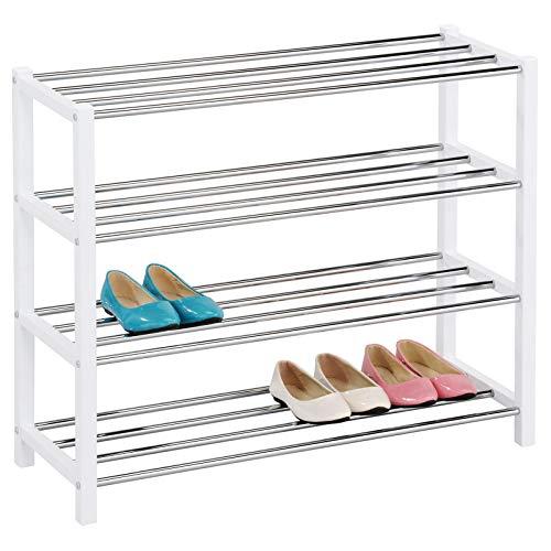 IDIMEX Schuhregal Dublin Schuhablage Schuhständer Schuhaufbewahrung aus Metall mit 4 Böden in weiß