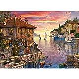 1000 piezas de rompecabezas de papel de Navidad, el mejor juego de puzles, adultos/juegos rompecabezas para adolescentes, desafío de alta dificultad, descompresión(puerto mediterráneo colorido)