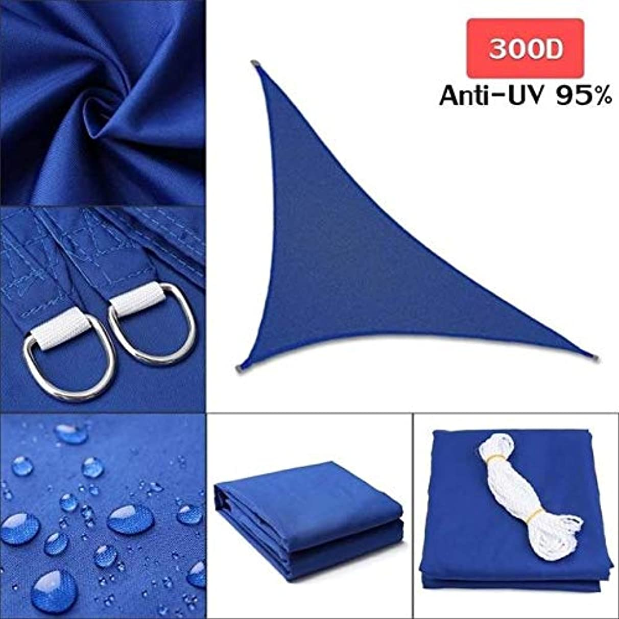 DN SUPPLY 280GSM/300D HDPE Right Triangle Awning Shade Sail Sun Outdoor Waterproof Sun Shade Sail Garden Patio Pool Camping Picnic Tent