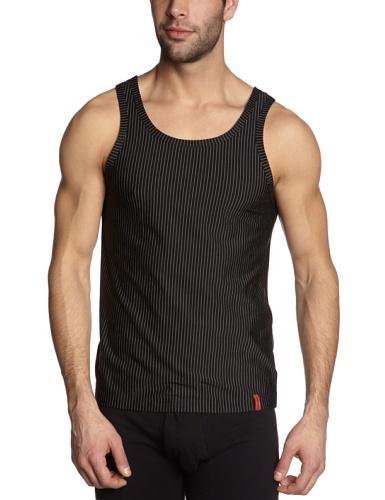 Bruno Banani - Maillot de corps - Sans manche - Homme - Multicolore - Mehrfarbig (712 schwarz/ weiß Streifen) - Large (Taille fabricant: L)