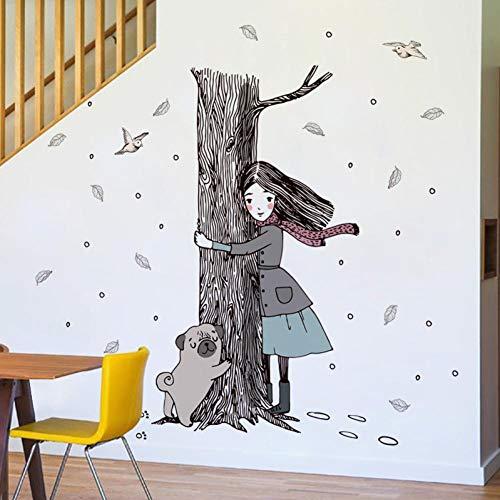 Leeypltm meisje knuffelen de boom muur stickers, afneembare muur stickers, waterdichte muur papier, voor TV achtergrond, Decor muurschildering Art Decal Home Decor, Verjaardagscadeau voor jongens en meisjes