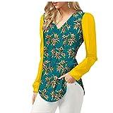 Yiqi Camisa Casual para Mujer Blusa de Impresión Africana con Escote en V Mangas Largas Slim Camisa Tops (Style#12, Asia M)