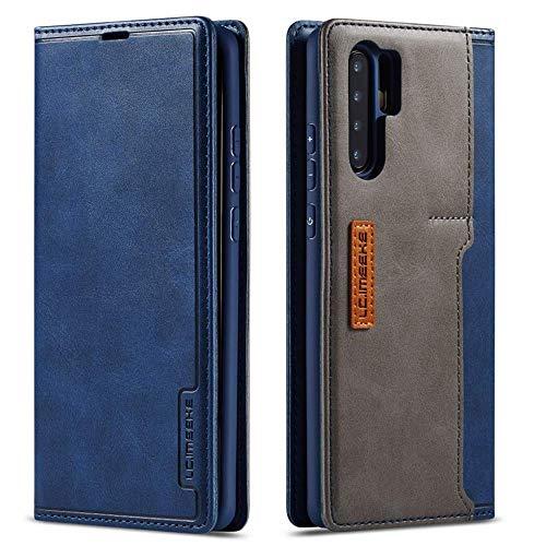 LCHULLE Lederhülle für Huawei P30 Lite Hülle Premium Leder Flip Schutzhülle mit Kartenfach Klappbar Handyhülle ultradünn Brieftasche für Huawei P30 Lite Blau