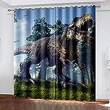 Cortinas para Interior Dinosaurio del Bosque Cortina Opaca con Ojales,para Salón Habitación Y Cuarto De Los Niños, 2 Paneles 2X140X250 Cm(AxL)