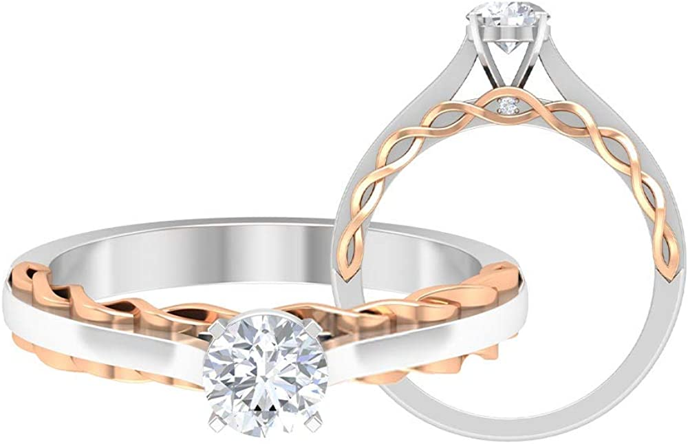 Two Tone Engagement Baltimore Mall Ring Sales results No. 1 2 Moissanite Round Shaped D-VSSI CT