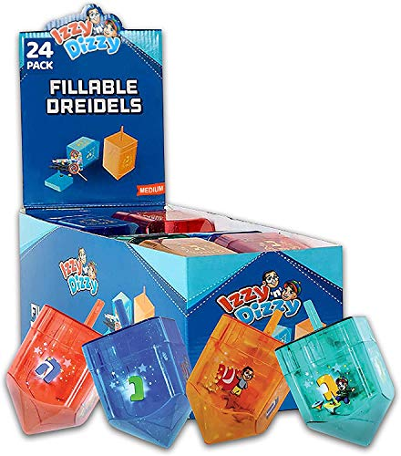 24 Pack Fillable Dreidels - Medium - 3 x 2 Inch - Great for Chocolate Coins and Candy - Assorted Colors