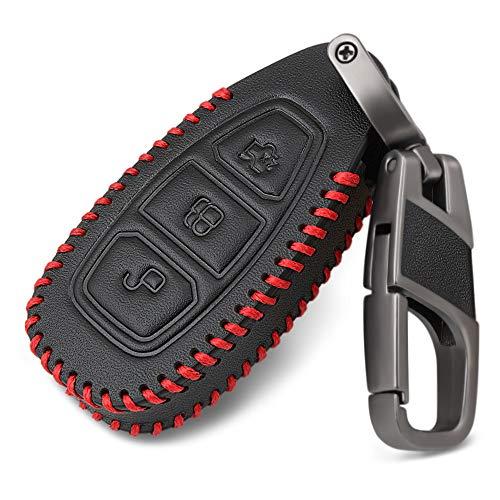SDLWDQX Funda deCuero para Llave de Coche, Apta para Ford Ranger C-MAX S-MAX Focus MK3 Galaxy Mondeo Transit Tourneo Custom,FundaProtectora de 3 Botones para Control Remoto, Color Negro