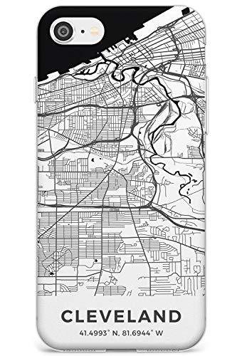 Mappa di Cleveland, Ohio Slim Cover per iPhone 7 Plus TPU Protettivo Phone Leggero con Viaggio Wanderlust Stati Uniti d'America Città Strade