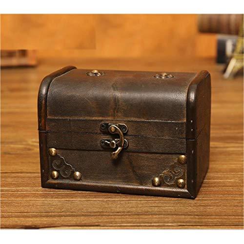 Antique Wooden Jewelry Box Retro Wooden Box with Lock Desktop Debris Finishing Storage Box Antique Jewelry Box Room Escape Props Box Treasure Box, C