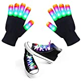 LED Gloves Light up Gloves Colorful Flashing Shoelace for Kids, Adult for Christmas Costume Birthday Party