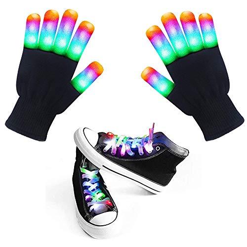 LED Handschoenen Oplichten Handschoenen LED schoenveters 7 Kleuren 6 Modi Knipperende Vinger Licht Led Rave Handschoenen voor Kinderen Volwassenen, Geweldig voor Kerstmis Kostuum Verjaardag EDM Party