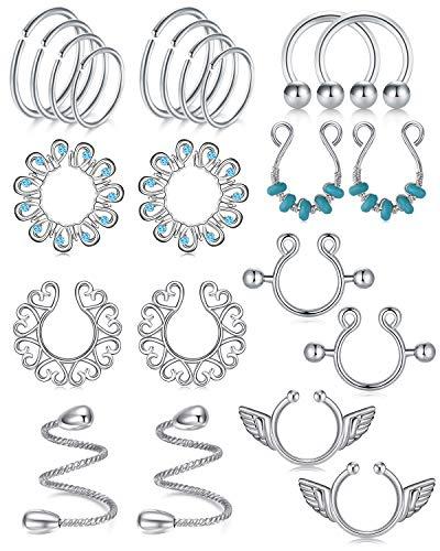 LAURITAMI Stainless Steel Fake Nipple Rings for Women Non-Piercing Nipplerings Faux Body Piercing Jewelry