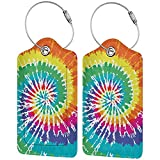 Rainbow Tie Dye Luggage Tags for Men Women with Full Back Privacy Name ID Card and Stainless Steel Loop Travel Suitcase Labels Identifiers Funny Cute