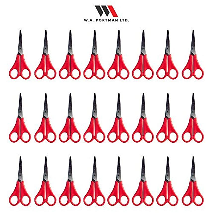 Kids Scissors Multi Pack for Classroom - Safety Scissors for Toddlers & Older School Kids Art & Craft Supplies - 24-Pack 5-inch Scissors Set, Pointed Tip, Red Handles