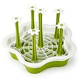 HULISEN Scolapiatti Scolabiberon Supporto, Fiori in Plastica Tipo Utensili Tazza Dryer Vassoio Holder, Green