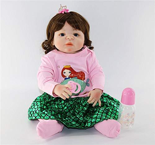 Lebensechte 23Newborn können volle Silikon Reborn Puppen Baby lebensechte 57cm niedliche Prinzessin stilvolle Weihnachtenfür MädchenWeihnachten Geburtstagsgeschenke für Kinderbaden