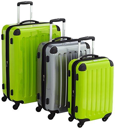 HAUPTSTADTKOFFER - Alex - 3er Koffer-Set Hartschale glänzend, (S, M & L), 235 Liter, Apfelgrün-Silber-Apfelgrün