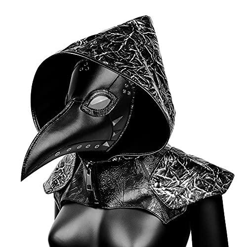 XJST Maschera di Halloween, Plague Doctor Mask Pelle Long Naso Lungo Bird Beak Cosplay, Masquerade Party Costume Mask for Men Donne