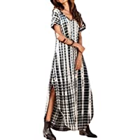 Vestidos Mujer Casual Playa Largos Verano Tie Dye Vestido Boho Hendidura Falda Larga Maxi Vestido Playeros Black XL