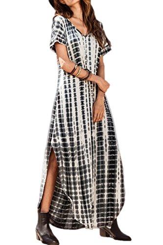 Zilcremo Damen Strandkleid Bohemian Lang Kleid Sommerkleid Kurze Ärmel Boho Kleider Maxikleid Black XL