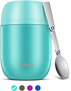 WayEee Termo para Comida 450 ml Taza Aislada de Acero Inoxidable para Alimentos Bebida Sopa Termo Térmico para Sólido y Líquido para Bebe Niños y Adultos (Azul)