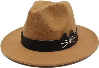 WUNONG-AU Unisex Men Women Wool Fedora Hat Couple Dating Outdoor Humboldt Travel Woolen Hat Wide Side Jazz Cap (Color : Khaki, Size : 56-58)