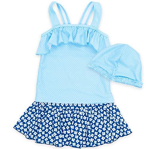 子供水着 女の子 キッズ 水着 sandia サンディア 小花柄セパレート キャップ付き110sax