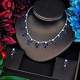 LIYDENG Joyas Conjuntos De Joyas De La Boda De La Flor Azul para Las Mujeres Vestidos De Fiesta Accesorios Collar Earings Set Cubic Zirconia Joyería (Color : Platinum Plated)