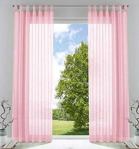 2er-Pack Gardinen Transparent Vorhang Set Wohnzimmer Voile Schlaufenschal mit Bleibandabschluß HxB 225x140 cm Hellrosa, 61000CN