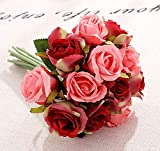 Jasion Artificial Roses Flowers 12 Heads Arrangement Silk Bouquet for Home Office Parties Bridal and Wedding Decoration (Red with Pink)
