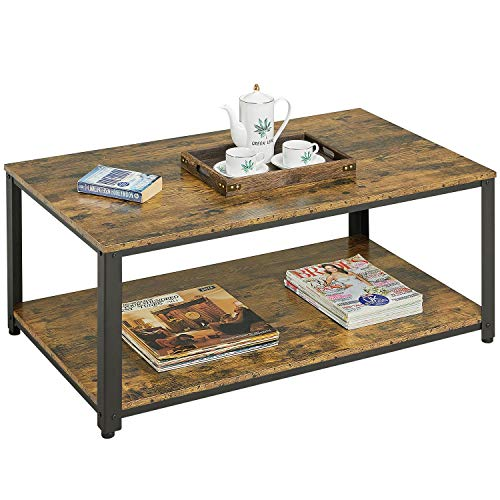 Yaheetech Rectangular Coffee Table Industrial Sofa Side Table with 2 Tiers Storage Shelf for Living Room, Rustic Brown, 106x60x45.5cm(LxWxH)