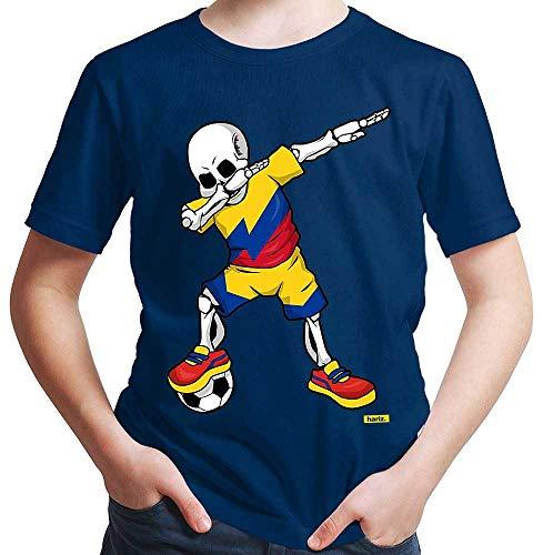 Hariz - Camiseta de fútbol para niño con diseño de esqueleto de Colombia (incluye tarjeta de regalo) azul marino 8 años