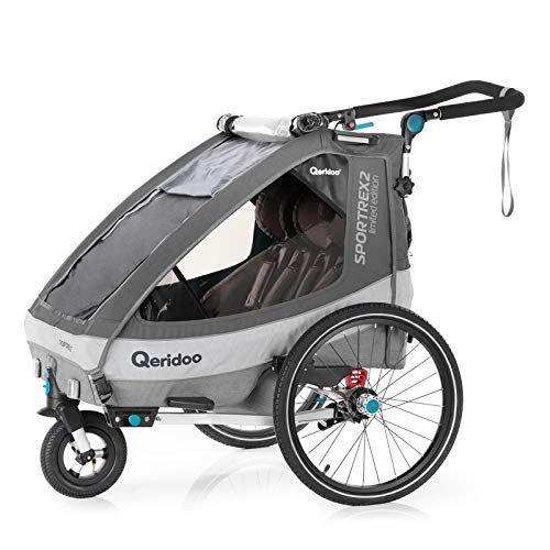 Qeridoo Sportrex 2 (2020/2021) Fahrradanhänger 2 Kinder, einstellbare Federung - Grau