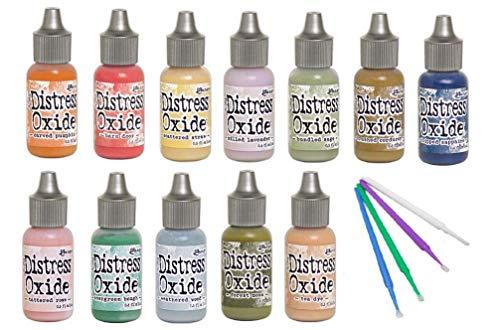 Ranger Distress Oxide Bundles - Includes 12 Distress Oxide Colors with PTP Flash Deals Detail Sticks (Set 4-12 Coordinating REINKERS)