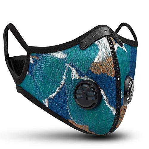 QueenNa - Máscaras de Ciclismo con Filtro de Media Cara de Carbono para Exteriores, para Motociclismo, carpintería, Ciclismo, Correr, Bicicleta (Tipo Flor)