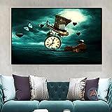 LZASMMVP Reloj Violín Sombrero de Mariposa Pintura Creativa Surrealista Decoración para el hogar Pintura en Lienzo Arte de Pared Moderno Carteles e impresión | 60x90cm Sin Marco