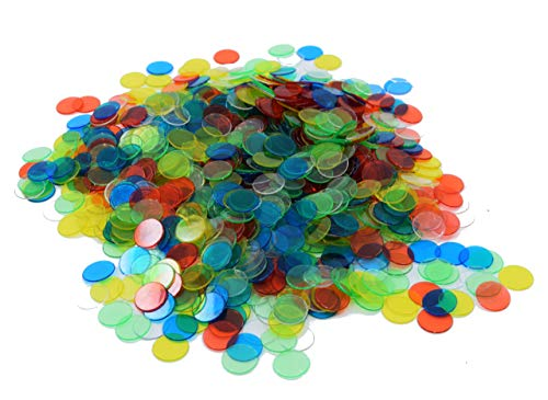 Regal Games 3/4-Inch Transparent Multi Colored Bingo Chips, 1,000 Count Counting Chips, Ages 5 and Up