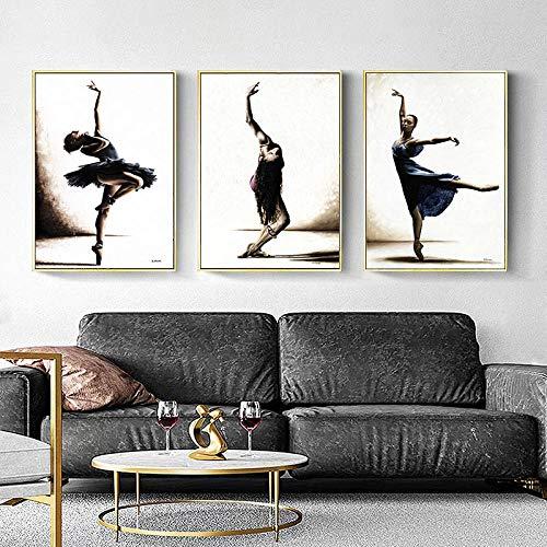 Yoga Wand Bilder Ballett Tanzen Bild Moderne Wand Bilder Vintage Poster Workout Bild Leinwand Living Dance Room Gym Dekor Bilder 40x60cmx3 Ungerahmt