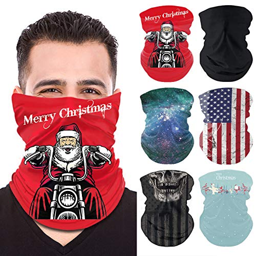 Christmas Neck Gaiter Face Mask - 6 Pack Face Mask Reusable, Washable Balaclava, Neck Gator Sleeve, Face Scarf Shield for Women and Men