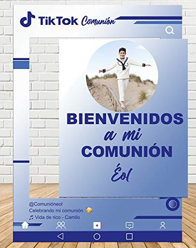 Tu Fiesta Mola Mazo Photocall de Tiktok Comunión Azul 80x110cm  Photocall Redes Económico y Original   Detalles Comunión  Personalizable
